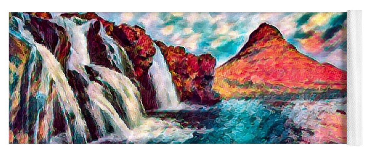 Abstract Yoga Mat featuring the photograph Iceland Waterfalls by Robert Kinser