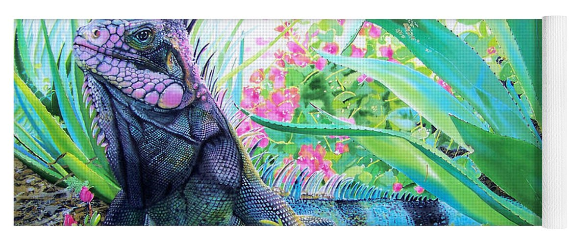 Lizard Yoga Mat Featuring The Painting Iguana By Denny Bond