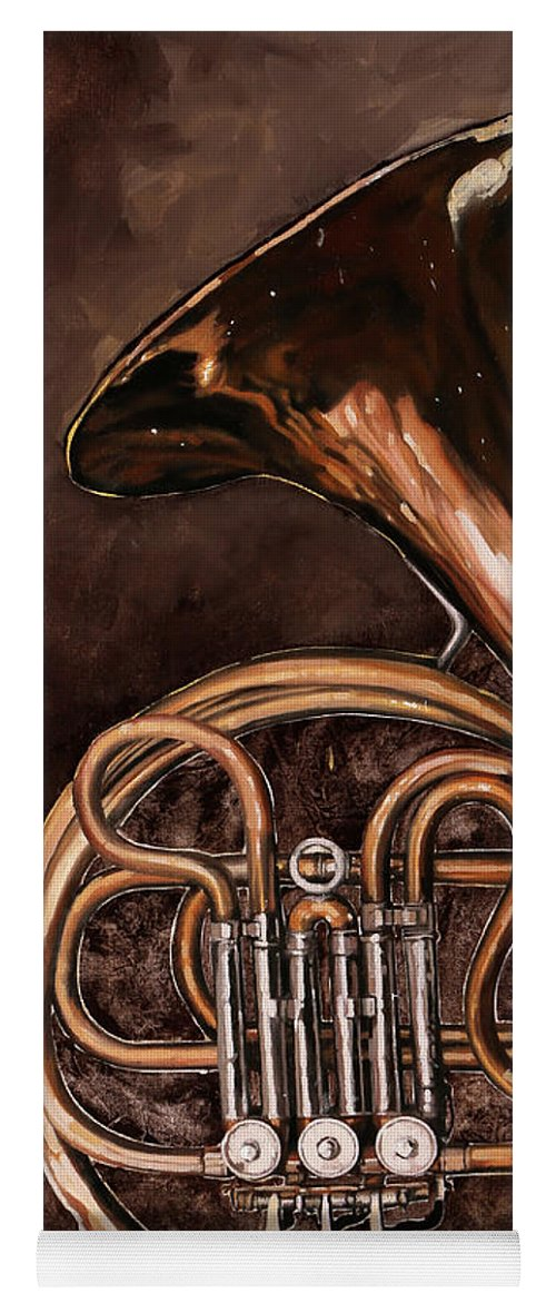 French Horn Yoga Mat featuring the painting Il Corno Francese by Guido Borelli