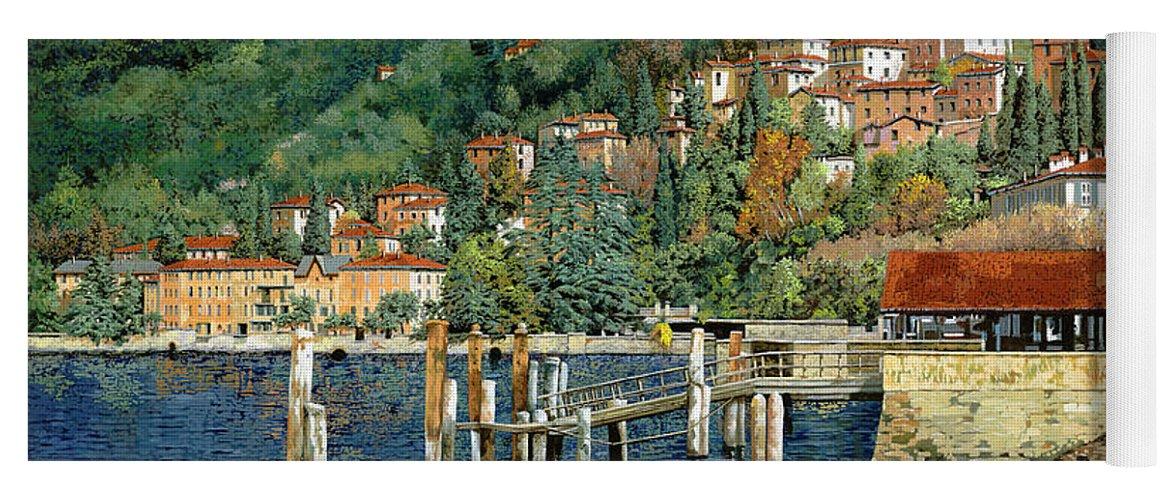 Lake Como Yoga Mat featuring the painting il porto di Bellano by Guido Borelli