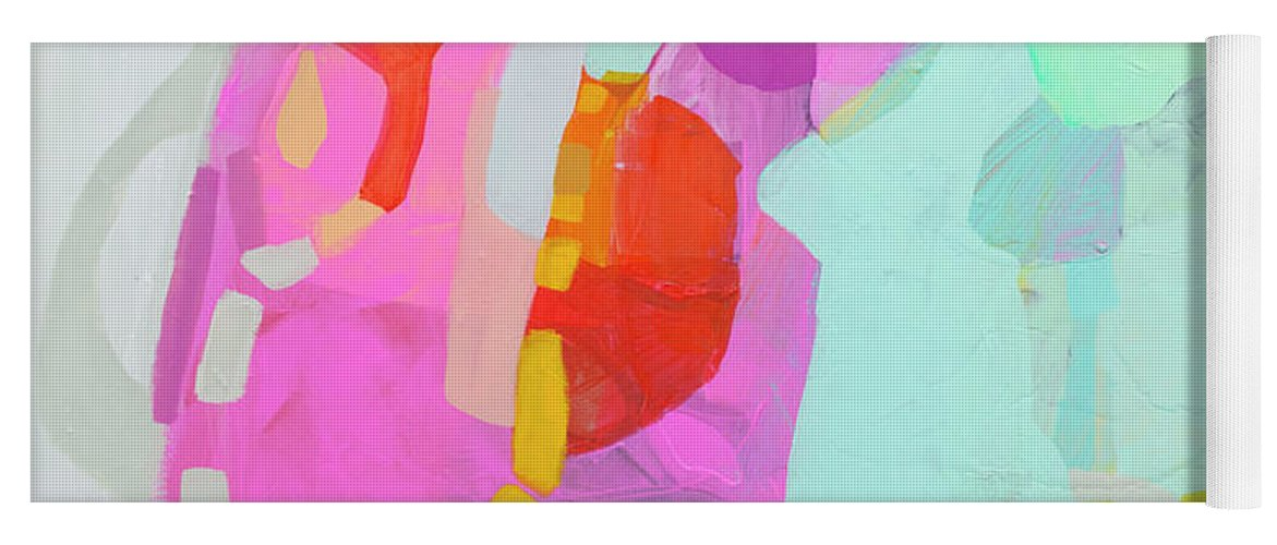 Abstract Yoga Mat featuring the painting I'm So Glad by Claire Desjardins