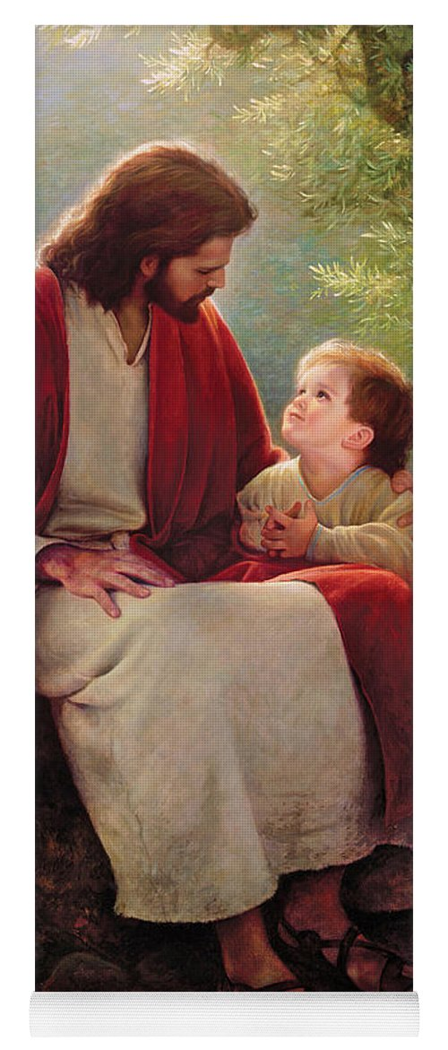 Jesus Yoga Mat featuring the painting In His Light by Greg Olsen