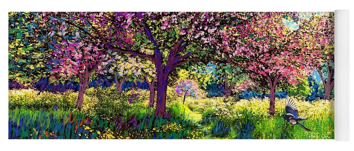Blossom Yoga Mat featuring the painting In Love With Spring, Blossom Trees by Jane Small