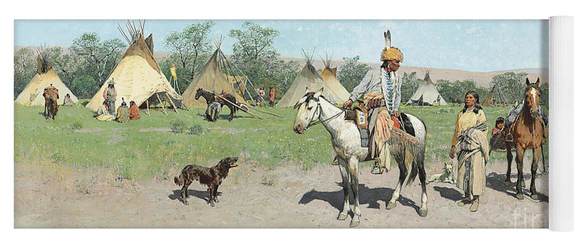 Indians Yoga Mat featuring the painting In Pastures New by Henry Francois Farny