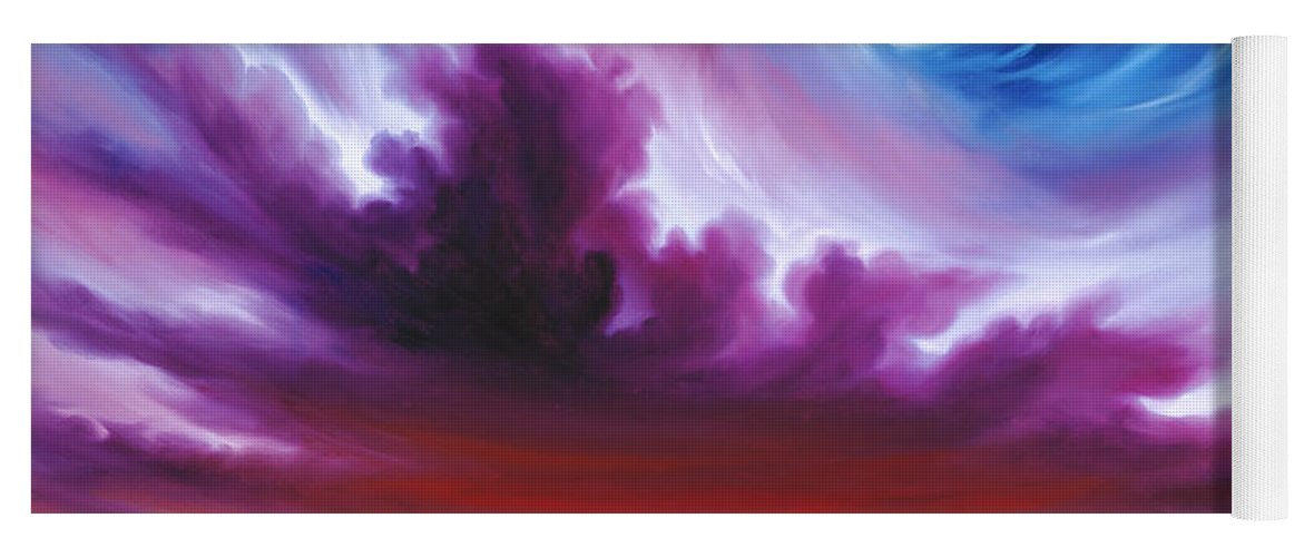 Sunrise; Sunset; Power; Glory; Cloudscape; Skyscape; Purple; Red; Blue; Stunning; Landscape; James C. Hill; James Christopher Hill; Jameshillgallery.com; Ocean; Lakes; Genesis; Creation; Quantom; Singularity Yoga Mat featuring the painting In the Beginning by James Christopher Hill
