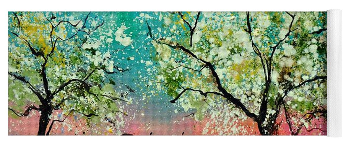 Landscape Yoga Mat featuring the painting In the orchard by Pol Ledent