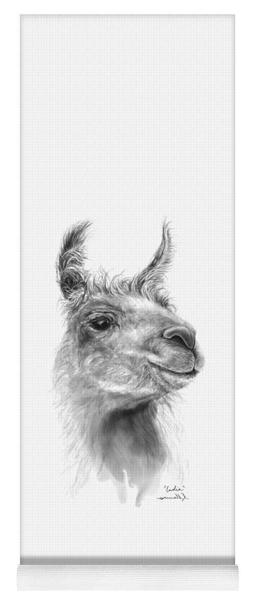 #artshow #artist #blackandwhite #modernart #contemporary #linkinbio #animal #farm #artexhibit #design #interiordesign #printsavailable #gift #llamas #llamasofinstagram #fineart #drawing #artprints #nashvilleartist #home #shop #decor #llamalove #llamalife #llamaart Yoga Mat featuring the drawing India by K Llamas