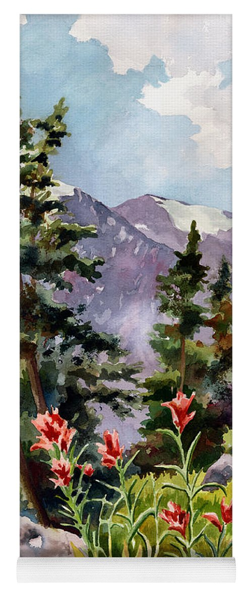 Colorado Art Yoga Mat featuring the painting Indian Paintbrush by Anne Gifford