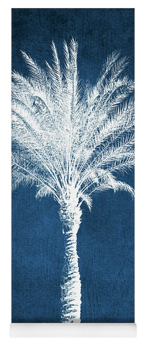 Palm Tree Yoga Mat featuring the mixed media Indigo and White Palm Tree- Art by Linda Woods by Linda Woods