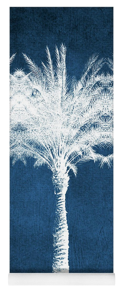 Palm Tree Yoga Mat featuring the mixed media Indigo And White Palm Trees- Art by Linda Woods by Linda Woods