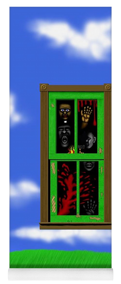 Surrealism Yoga Mat featuring the digital art Into The Green Window by Robert Morin