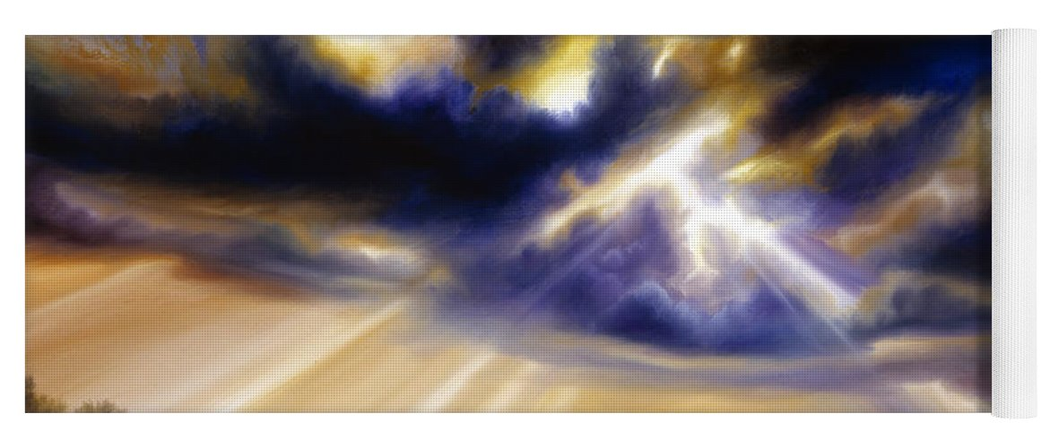 Sunrise; Sunset; Power; Glory; Cloudscape; Skyscape; Purple; Red; Blue; Stunning; Landscape; James C. Hill; James Christopher Hill; Jameshillgallery.com; Ocean; Lakes; Storms; Lightning; Rain; Rays; God Yoga Mat featuring the painting Iowa Storms by James Christopher Hill