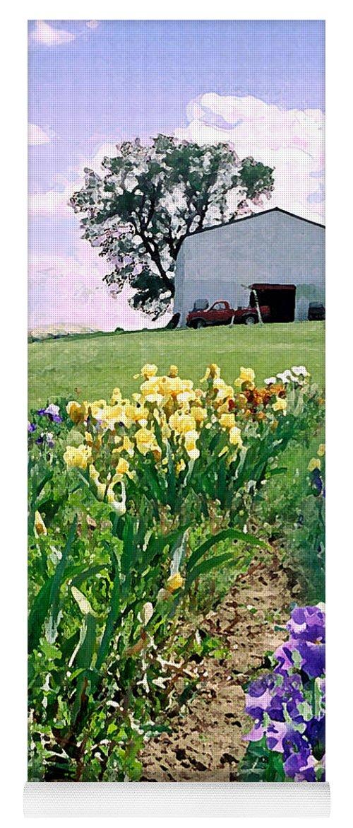 Landscape Painting Yoga Mat featuring the photograph Iris Farm by Steve Karol