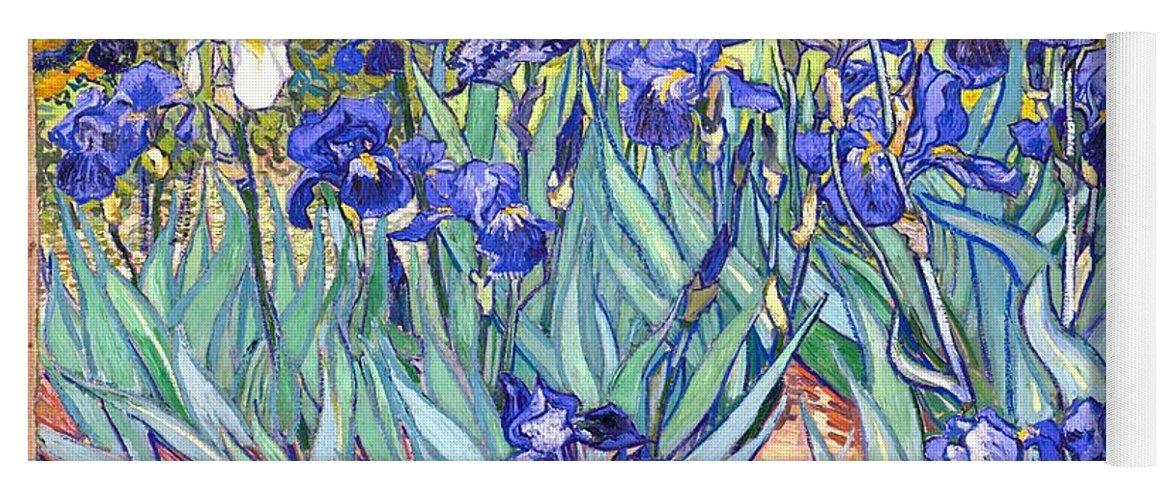 Van Gogh Yoga Mat featuring the painting Irises by Van Gogh