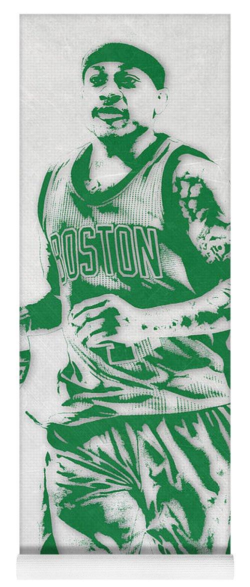 Isaiah Thomas Yoga Mat featuring the mixed media Isaiah Thomas Boston Celtics Pixel Art by Joe Hamilton