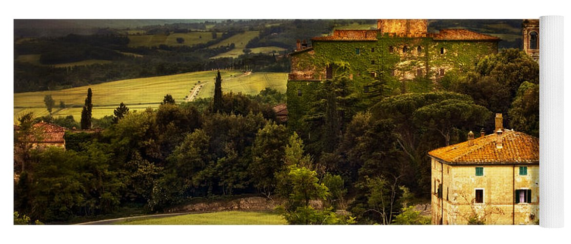 Italy Yoga Mat featuring the photograph Italian Castle And Landscape by Marilyn Hunt