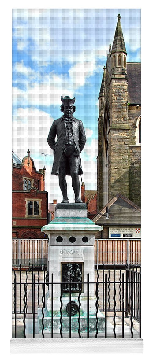 Red Yoga Mat featuring the photograph James Boswell Statue - Lichfield by Rod Johnson
