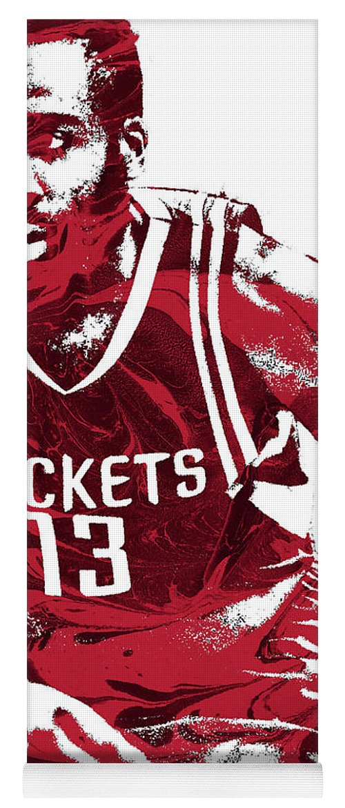James Harden Yoga Mat featuring the mixed media James Harden Houston Rockets Pixel Art 3 by Joe Hamilton