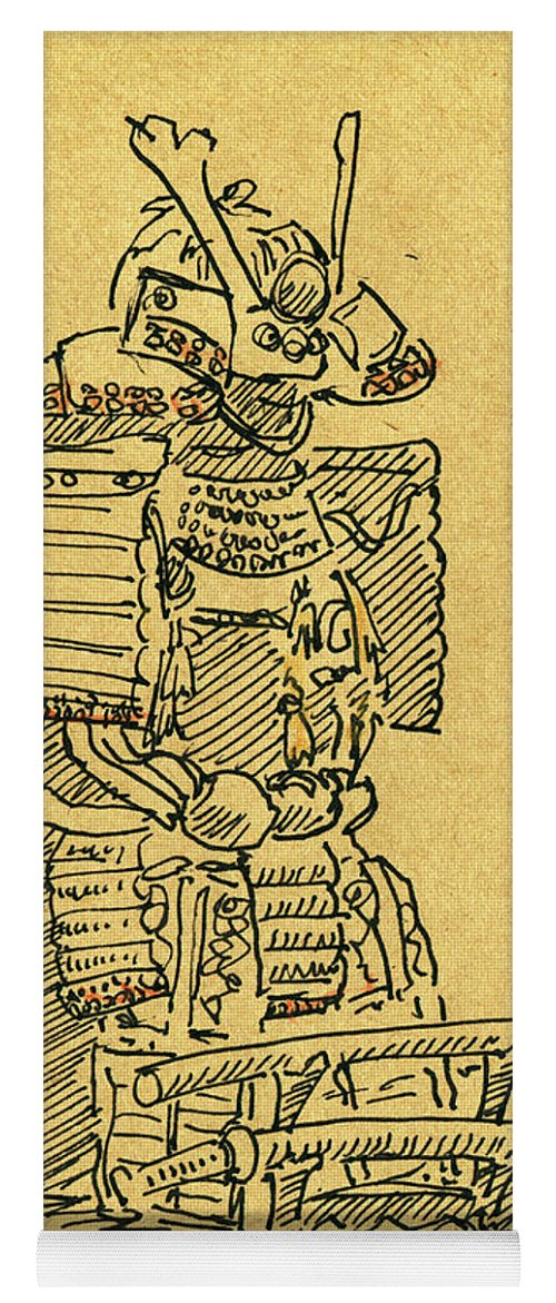 Japanese Armour Fountain Pen Ink Drawing Yoga Mat