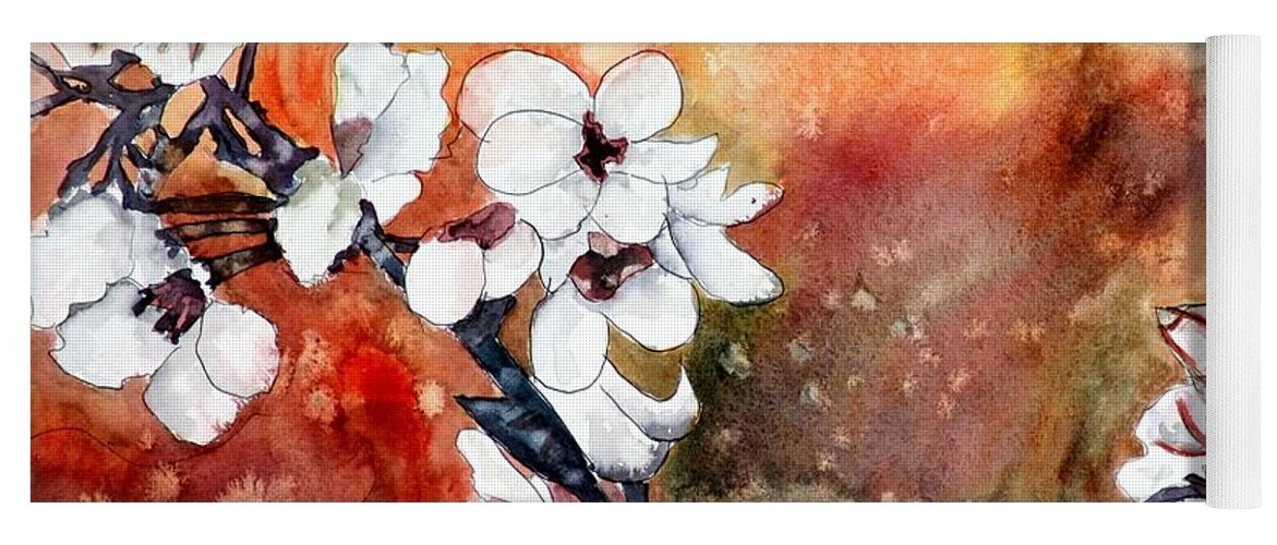 Watercolor Yoga Mat featuring the painting Japanese cherry blossom abstract flowers by Derek Mccrea