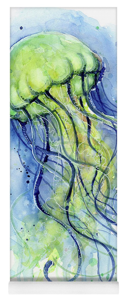 Watercolor Jellyfish Yoga Mat featuring the painting Jellyfish Watercolor by Olga Shvartsur