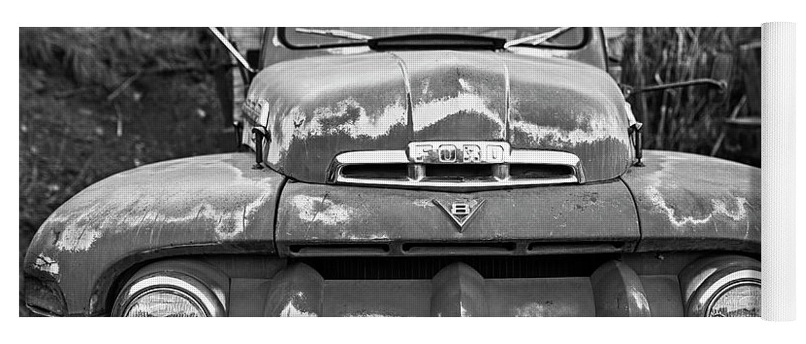 Jerome, Az Junk Yard Ford V8 Red Old Rusty Truck Black And White ...