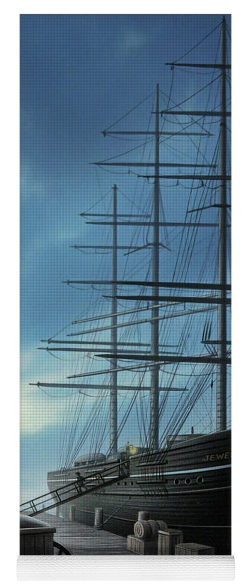 Ship Yoga Mat featuring the painting Jewel Of The North by Jerry LoFaro