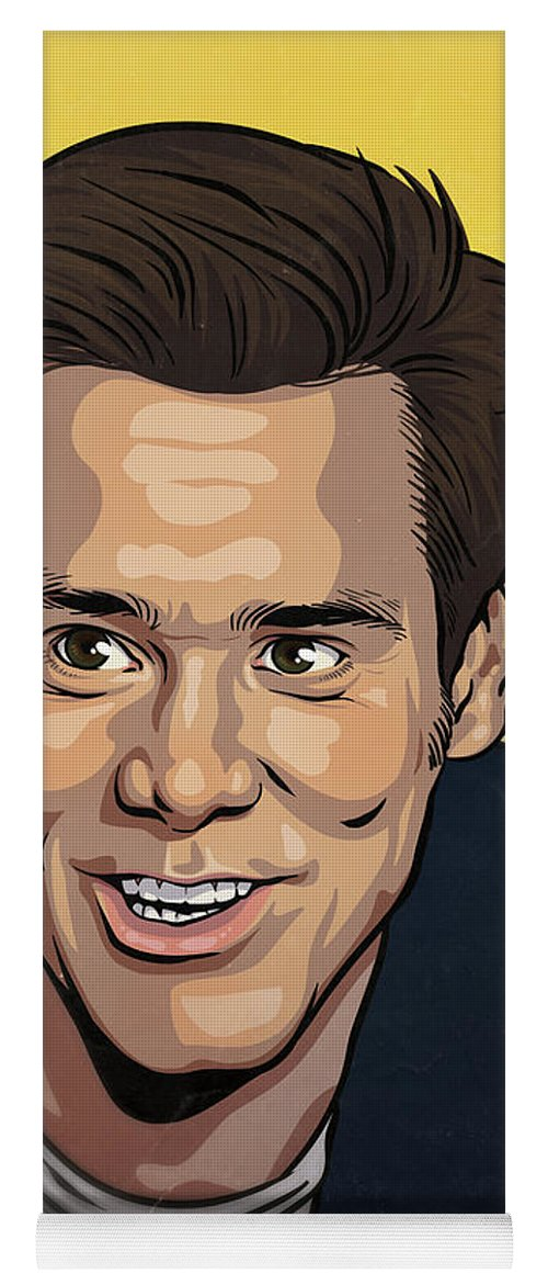 Jim Carrey Yoga Mat featuring the drawing Jim Carrey by Miggs The Artist