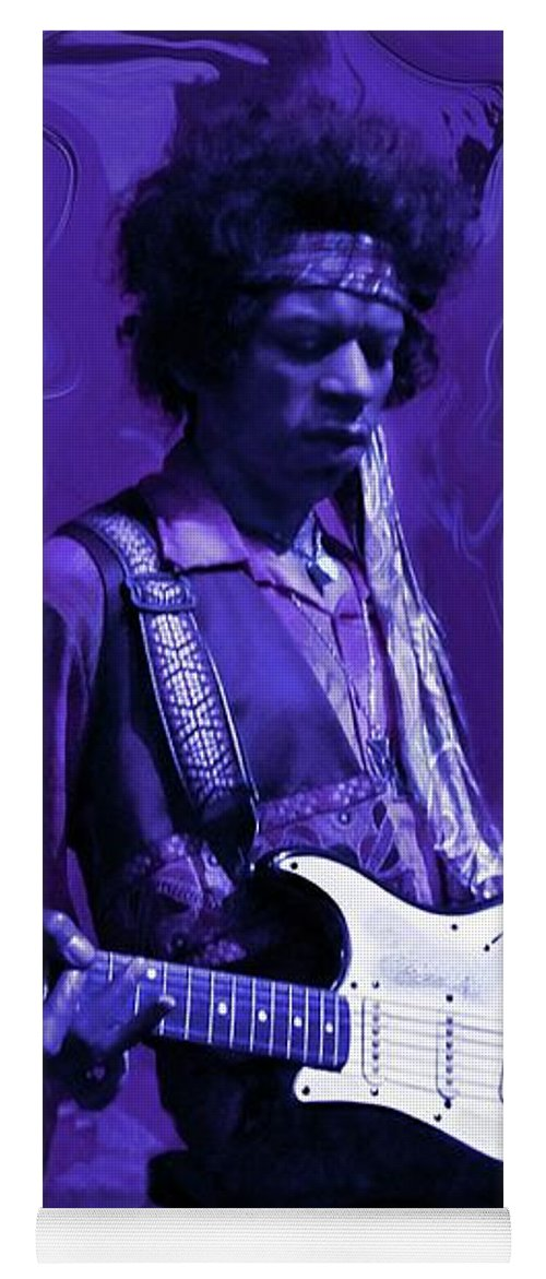 Jimi Hendrix Yoga Mat featuring the photograph Jimi Hendrix Purple Haze by David Dehner
