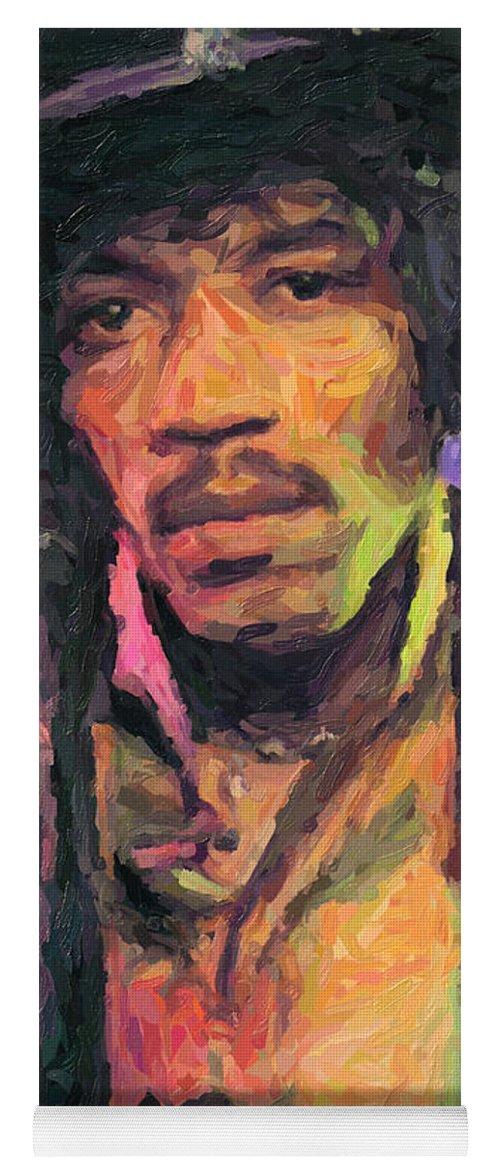Jimi Hendrix Yoga Mat featuring the painting Jimi Hendrix by Zapista OU