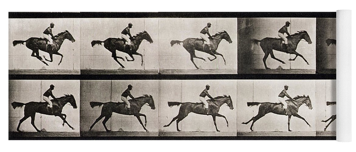 Muybridge Yoga Mat Featuring The Photograph Jockey On A Galloping Horse By Eadweard