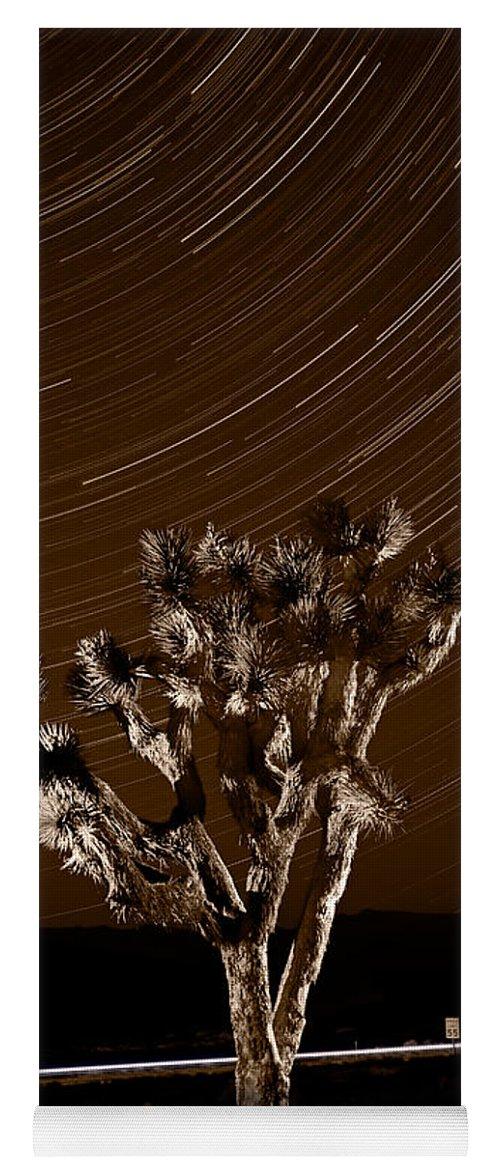 California Yoga Mat featuring the photograph Joshua Tree Night Lights Death Valley Bw by Steve Gadomski