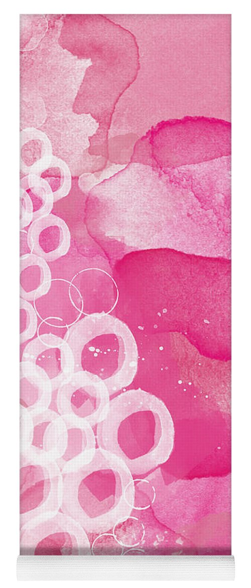 Pink Abstract Yoga Mat featuring the painting Jubilee- Abstract Art by Linda Woods