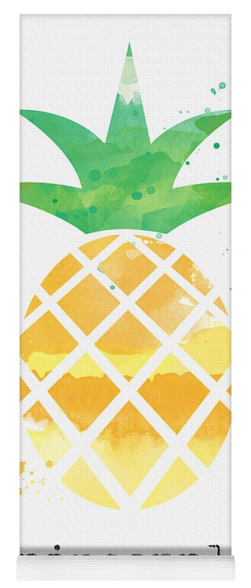 Pineapple Yoga Mat featuring the painting Juicy Pineapple by Linda Woods
