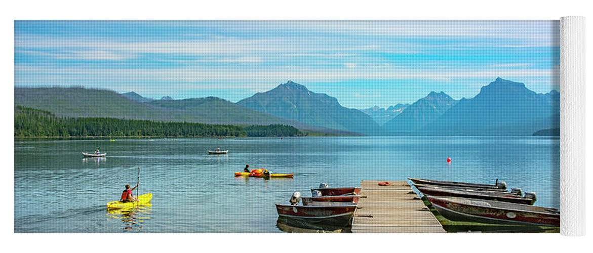 Montana Yoga Mat featuring the photograph July 4th on Lake McDonald by Bryan Spellman
