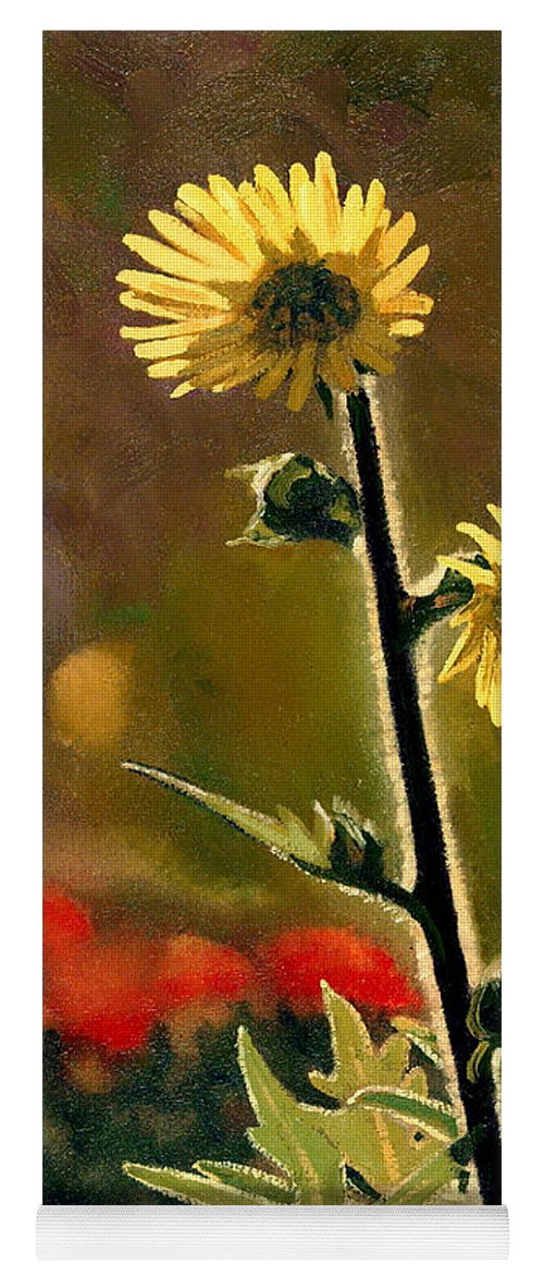 Prairie Flowers Yoga Mat featuring the painting July Afternoon-Compass Plant by Bruce Morrison