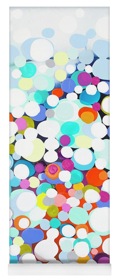 Abstract Yoga Mat featuring the painting Just For Fun by Claire Desjardins