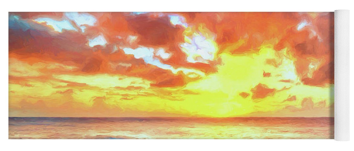 Sunset Yoga Mat featuring the painting Kailua-kona Sunset by Dominic Piperata