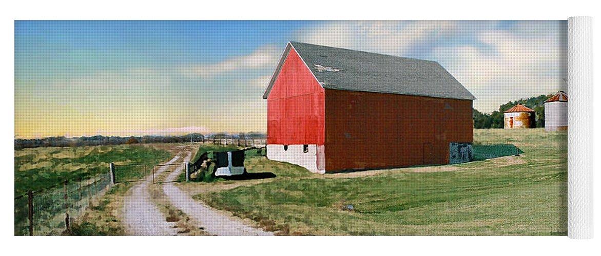 Barn Yoga Mat featuring the photograph Kansas landscape II by Steve Karol