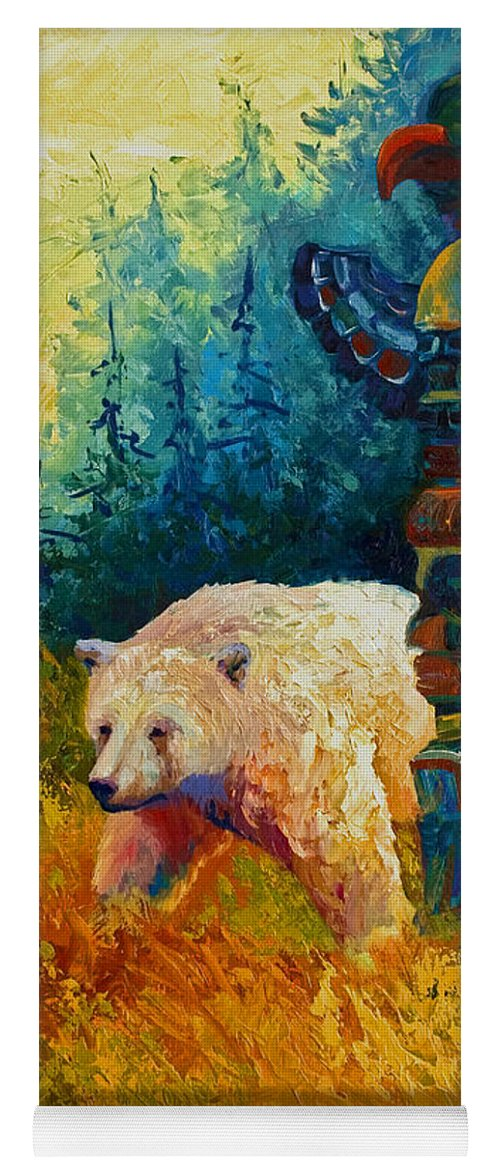 Western Yoga Mat featuring the painting Kindred Spirits - Kermode Spirit Bear by Marion Rose