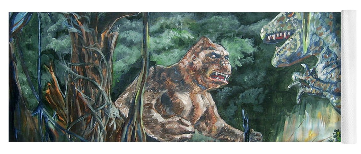King Kong Yoga Mat featuring the painting King Kong vs T-Rex by Bryan Bustard