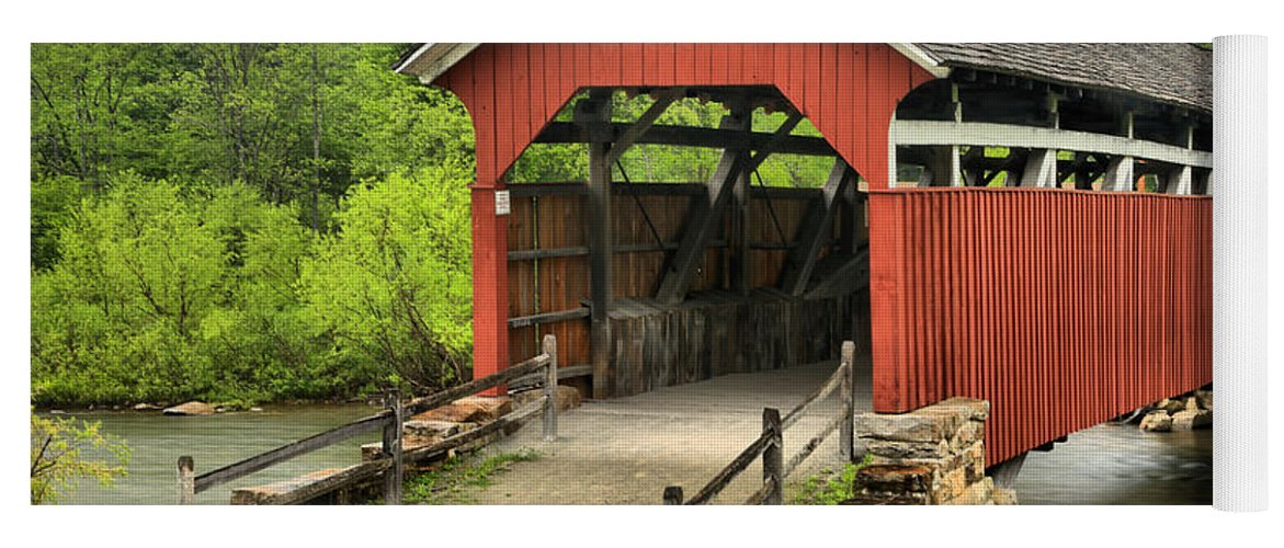 Kings Bridge Yoga Mat featuring the photograph Kings Covered Bridge Somerset Pa by Adam Jewell