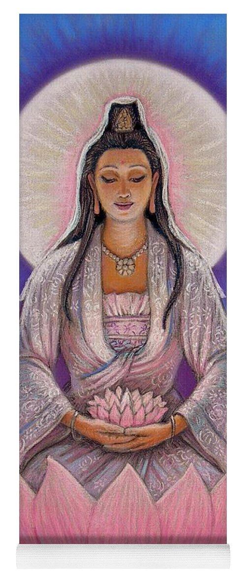 Kuan Yin Yoga Mat featuring the painting Kuan Yin by Sue Halstenberg
