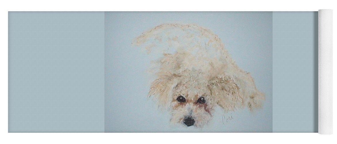 Dog Yoga Mat featuring the drawing Kuku by Cori Solomon