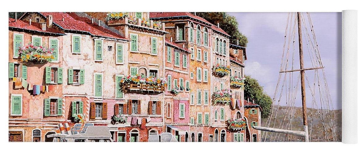Landscape Yoga Mat featuring the painting La Barca Rossa Alla Calata by Guido Borelli