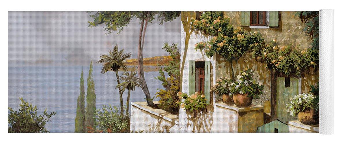 Llandscape Yoga Mat featuring the painting La Casa Giallo-verde by Guido Borelli