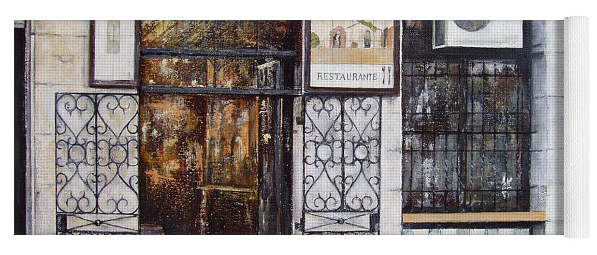 Bodega Yoga Mat featuring the painting La Cigalena Old Restaurant by Tomas Castano