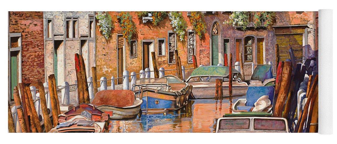 Venice Yoga Mat featuring the painting La Curva Sul Canale by Guido Borelli