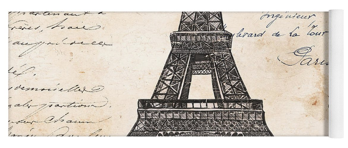 Eiffel Tower Yoga Mat featuring the painting La Tour Eiffel by Debbie DeWitt