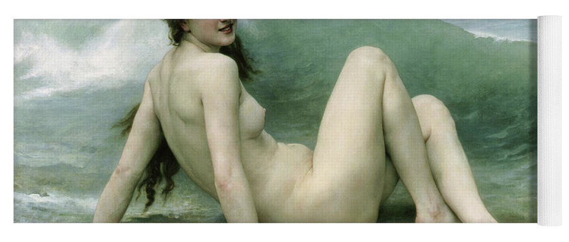 La Vague Yoga Mat featuring the painting La Vague by William Adolphe Bouguereau